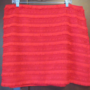 J CREW Fringe Tiered Lace Exposed Zip Mini Skirt